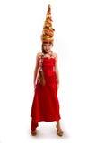 Muchacha de la Navidad en un vestido rojo del carnaval Imágenes de archivo libres de regalías