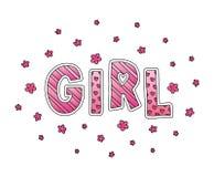 Muchacha de la palabra con las flores Letras de la mano Colores rosados Imprima para las tarjetas, la camisa de la mujer y la rop Foto de archivo