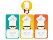 Muchacha de la panadería con el sombrero largo de la panadería stock de ilustración