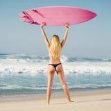 Muchacha de la persona que practica surf de Blode Imagen de archivo libre de regalías