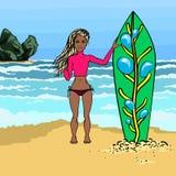 Muchacha de la persona que practica surf de la historieta Imágenes de archivo libres de regalías
