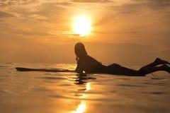 Muchacha de la persona que practica surf en el océano en el tiempo de la puesta del sol Fotografía de archivo libre de regalías