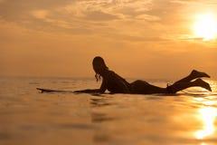 Muchacha de la persona que practica surf en el océano en el tiempo de la puesta del sol Foto de archivo