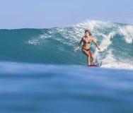 Muchacha de la persona que practica surf en onda azul asombrosa Fotos de archivo libres de regalías
