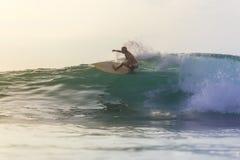 Muchacha de la persona que practica surf en una onda Fotografía de archivo