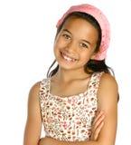 muchacha de la pertenencia étnica de la mezcla en pañuelo rosado Foto de archivo libre de regalías