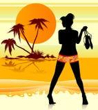 Muchacha de la playa stock de ilustración