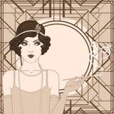 Muchacha de la pulidora: Diseño retro de la invitación del partido Imagenes de archivo