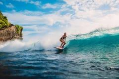 Muchacha de la resaca en la tabla hawaiana Mujer en el océano durante practicar surf Persona que practica surf y ola oceánica Imágenes de archivo libres de regalías