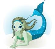 Muchacha de la sirena bajo el mar stock de ilustración