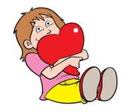Muchacha de la tarjeta del día de San Valentín Fotografía de archivo libre de regalías