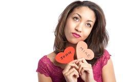 Muchacha de la tarjeta del día de San Valentín Fotografía de archivo