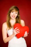 Muchacha de la tarjeta del día de San Valentín Imagen de archivo