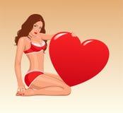 Muchacha de la tarjeta del día de San Valentín Foto de archivo libre de regalías