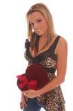 Muchacha de la tarjeta del día de San Valentín foto de archivo