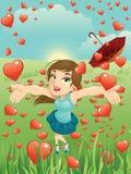 Muchacha de la tarjeta del día de San Valentín y lluvia de los corazones Foto de archivo libre de regalías