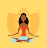 Muchacha de la yoga en la posición de la flor de loto