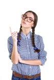 Muchacha de las adolescencias en vidrios grandes Fotos de archivo