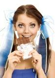 Muchacha de las coletas con el chocolate Imágenes de archivo libres de regalías