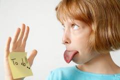 Muchacha de las etiquetas engomadas Fotografía de archivo libre de regalías