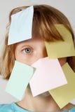 Muchacha de las etiquetas engomadas Imagen de archivo libre de regalías