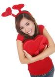 Muchacha de las tarjetas del día de San Valentín Foto de archivo libre de regalías