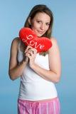 Muchacha de las tarjetas del día de San Valentín Fotografía de archivo libre de regalías