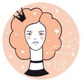 Muchacha de Leo Mujer del estilo del bosquejo con la muestra del zodiaco libre illustration