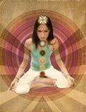 Muchacha de los chakras de la vendimia Imagenes de archivo