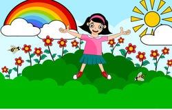 Muchacha de los niños el tiempo de verano stock de ilustración