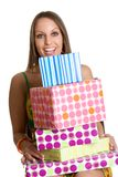 Muchacha de los regalos de cumpleaños Imágenes de archivo libres de regalías