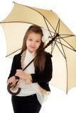 Muchacha de moda debajo de un paraguas Fotografía de archivo libre de regalías