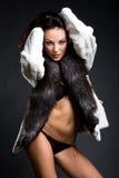 Muchacha de moda en piel Foto de archivo libre de regalías