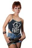 Muchacha de moda en tapa de la paz Imagenes de archivo