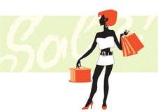 muchacha que se coloca con compras ilustración del vector