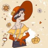 Muchacha de moda linda del garabato con el cóctel Foto de archivo libre de regalías