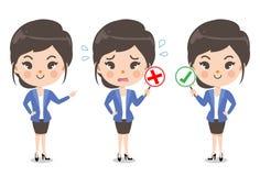 Muchacha de oficina y emoción de la acción stock de ilustración