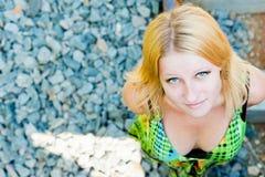 Muchacha de ojos azules Imagenes de archivo