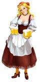 Muchacha de Oktoberfest con las tazas de cerveza Fotografía de archivo libre de regalías
