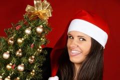 Muchacha de Papá Noel con el árbol de navidad Imagen de archivo libre de regalías