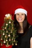 Muchacha de Papá Noel con el árbol de navidad Fotografía de archivo