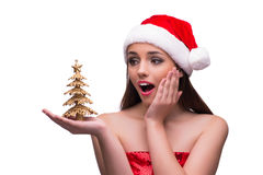 Muchacha de Papá Noel en concepto de la Navidad en blanco Fotos de archivo libres de regalías