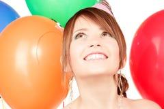 Muchacha de partido con los globos Imágenes de archivo libres de regalías