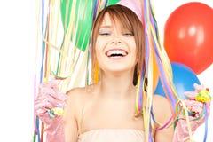 Muchacha de partido con los globos Imagen de archivo libre de regalías