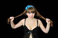 Muchacha de pelo largo del contacto-para arriba Fotos de archivo
