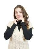 Muchacha de pelo largo en suéter Fotos de archivo
