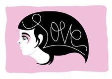 Muchacha de pelo largo - tarjetas del día de San Valentín del amor Imágenes de archivo libres de regalías