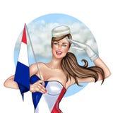 Muchacha de Pin Up que sostiene la bandera de Francia Imagenes de archivo