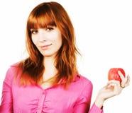 Muchacha de Redhair con la manzana Fotografía de archivo libre de regalías