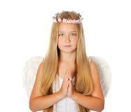 Muchacha de rogación del ángel Imágenes de archivo libres de regalías